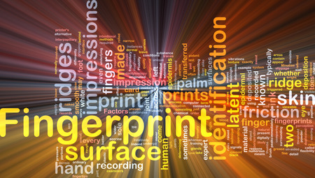 glowing skin: Background abstract concept wordcloud illustration of fingerprint identification glowing light