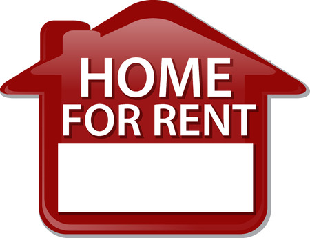 proclaim: Illustration concept clipart for rent sign house renting Stock Photo
