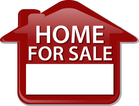 home clipart: Illustration concept clipart home for sale sign house selling