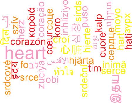 multilanguage: Background concept wordcloud multilanguage international many language illustration of heart Stock Photo