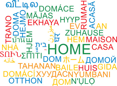 multiple house: Background concept wordcloud multilanguage international many language illustration of home Stock Photo