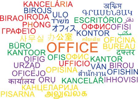 Background concept wordcloud multilanguage international many language illustration of office