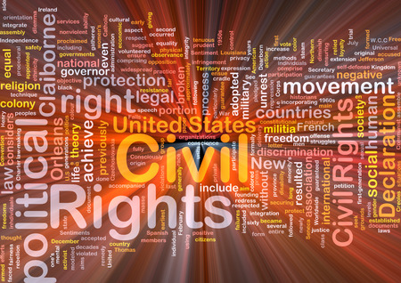 civil rights: Background text pattern concept wordcloud illustration of civil rights glowing light
