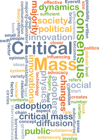 creates: Background concept wordcloud illustration of critical mass concept