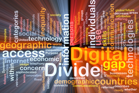 socioeconomic: Background text pattern concept wordcloud illustration of digital divide glowing light