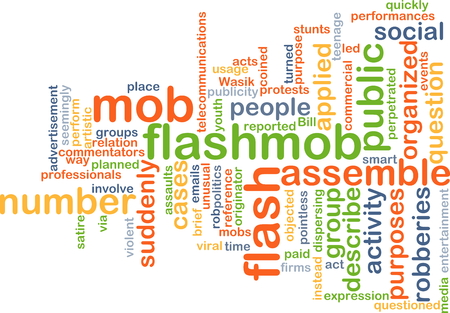 mob: Background concept wordcloud illustration of flash mob flashmob Stock Photo