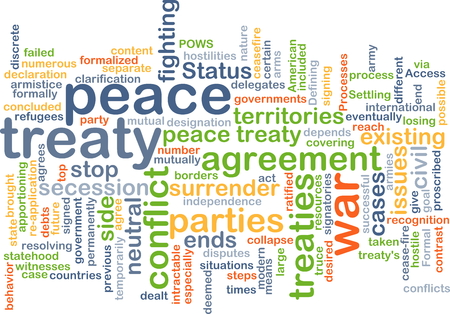 treaty: Background text pattern concept wordcloud illustration of peace treaty
