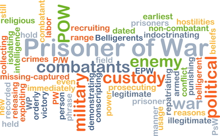 hostilities: Background text pattern concept wordcloud illustration of prisoner of war Stock Photo