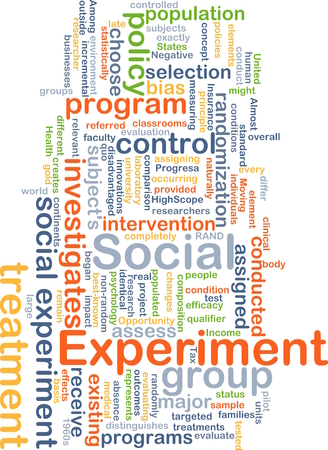 investigates: Background concept wordcloud illustration of social experiment