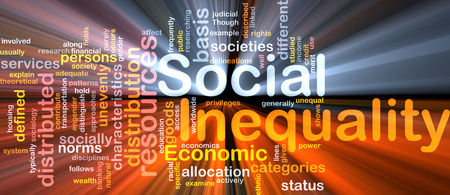 inequality: Background text pattern concept wordcloud illustration of social inequality glowing light Stock Photo