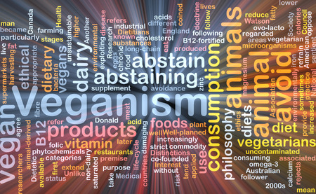 veganism: Background text pattern concept wordcloud illustration of veganism vegan glowing light