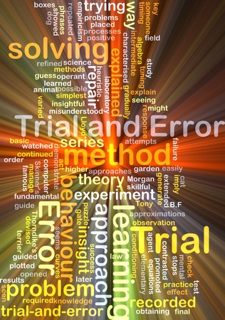 attempts: Background concept wordcloud illustration of trial and error glowing light Stock Photo