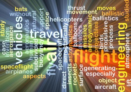 aeronautics: Background concept wordcloud illustration of flight glowing light