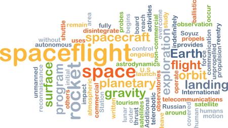 spaceflight: Background concept wordcloud illustration of spaceflight