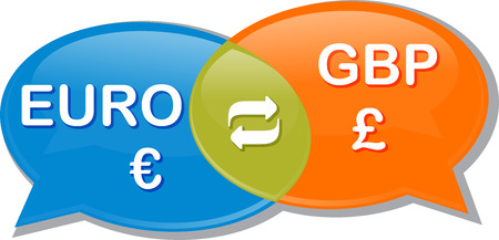 exchange rate: Illustration concept clipart speech bubble dialog conversation negotiation of currency exchange rate Euro GBP Pound