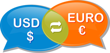 exchange rate: Illustration concept clipart speech bubble dialog conversation negotiation of currency exchange rate Euro USD