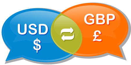 exchange rate: Illustration concept clipart speech bubble dialog conversation negotiation of currency exchange rate USD GBP Dollar pound