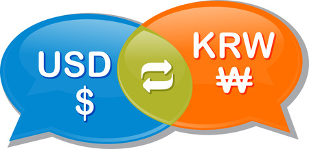 Illustration concept clipart speech bubble dialog conversation negotiation of currency exchange rate USD KRW Dollar Korean Won