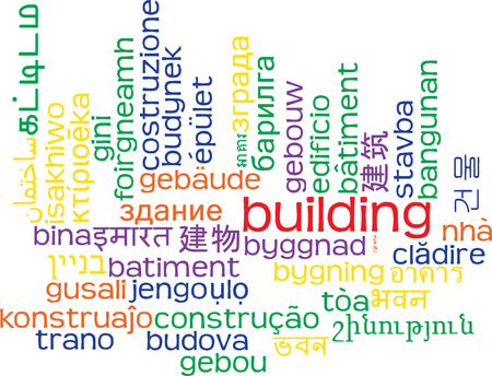 multilanguage: Background concept wordcloud multilanguage international many language illustration of building