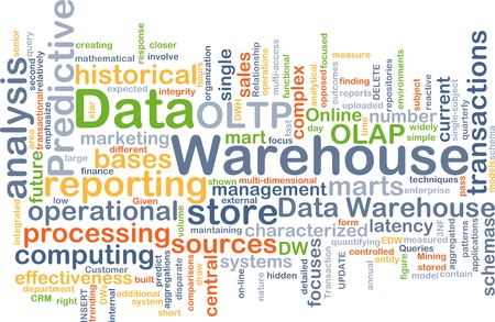 data bases: Background concept wordcloud illustration of data warehouse