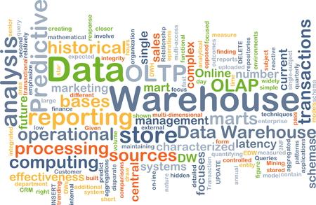 data warehouse: Concepto de fondo wordcloud ilustraci�n del almac�n de datos