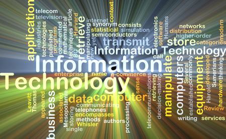 information technology: Background concept wordcloud illustration of information technology glowing light