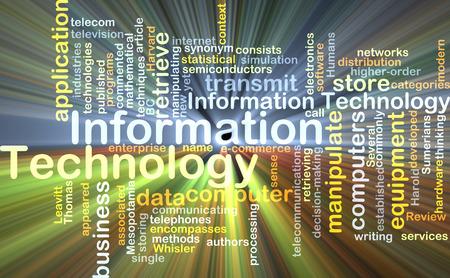Wordcloud Hintergrund Konzept der Informationstechnologie glühenden Licht Lizenzfreie Bilder