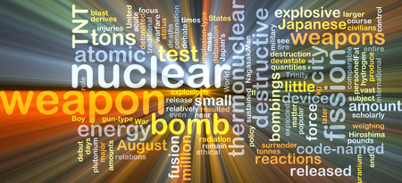 bombings: Background concept wordcloud illustration of nuclear weapon glowing light