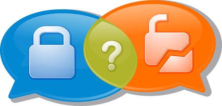 unlocked: Illustration concept clipart speech bubble dialog conversation negotiation argument security locked unlocked secure unsecured