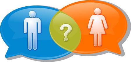 challenging sex: Illustration concept clipart speech bubble dialog conversation negotiation argument over man woman gender comparison Stock Photo