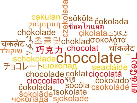 multilanguage: Background concept wordcloud multilanguage international many language illustration of chocolate