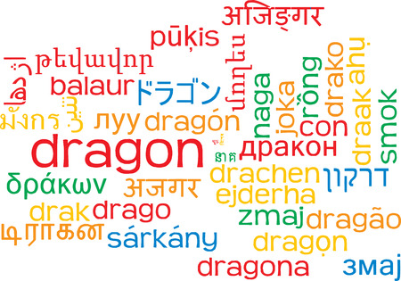 wordcloud: Background concept wordcloud multilanguage international many language illustration of dragon