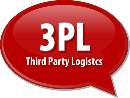 3rd: word speech bubble illustration of business acronym term 3PL 3rd Party Logistics
