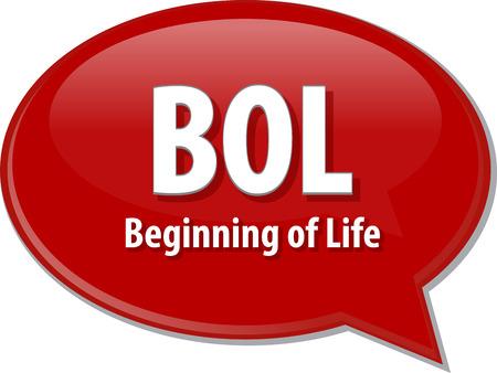 beginning: word speech bubble illustration of business acronym term BOL Beginning of Life