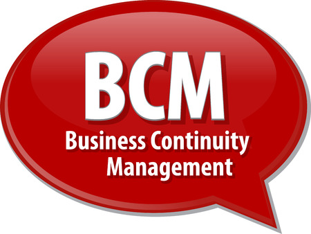 term: word speech bubble illustration of business acronym term BCM Business Continuity Management Stock Photo