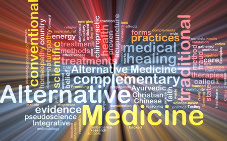 alternative medicine: Background text pattern concept wordcloud illustration of alternative medicine glowing light