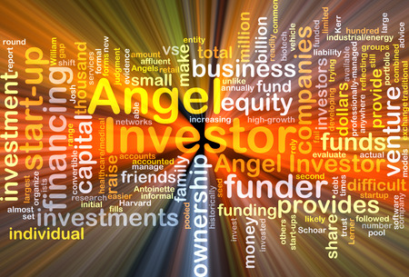 investor: Background concept wordcloud illustration of angel investor glowing light