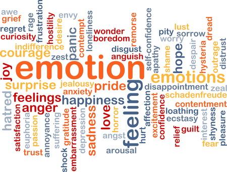 desprecio: Texto concepto de fondo patr�n Ilustraci�n de wordcloud de los sentimientos de emoci�n