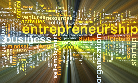 ventures: Background concept wordcloud illustration of entrepreneurship glowing light Stock Photo