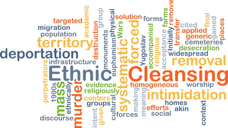 cleansing: Background concept wordcloud illustration of ethnic cleansing Stock Photo