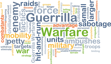 guerrilla warfare: Background concept wordcloud illustration of guerrilla warfare