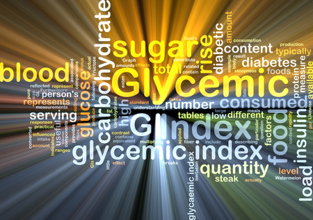 glycemic: Background text pattern concept wordcloud illustration of of glycemic index glowing light Stock Photo