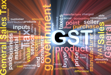 Background text pattern concept wordcloud illustration of GST tax glowing light Stock Photo