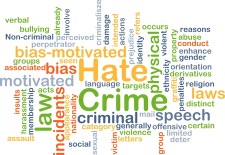 hate: Background concept wordcloud illustration of hate crime