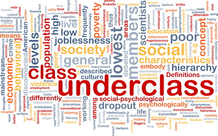 Background text pattern concept wordcloud illustration of underclass society