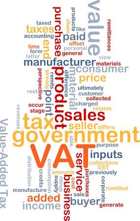 vat: Background text pattern concept wordcloud illustration of VAT tax