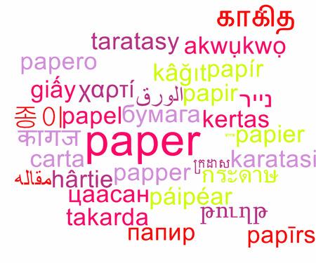 multilanguage: Background concept wordcloud multilanguage international many language illustration of paper Stock Photo