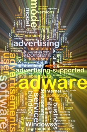 adware: Background text pattern concept wordcloud illustration of adware software glowing light