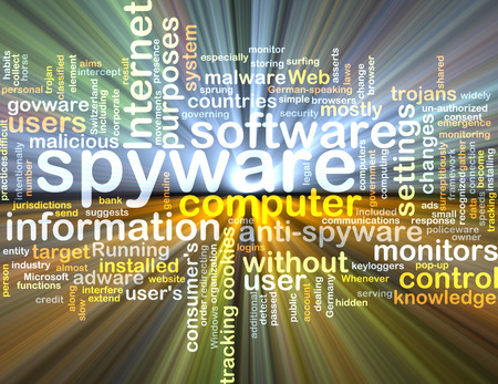 trojans: Background text pattern concept wordcloud illustration of spyware software glowing light