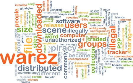 warez: Background text pattern concept wordcloud illustration of warez